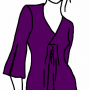 Purple with Slit Sleeves and Even Hem